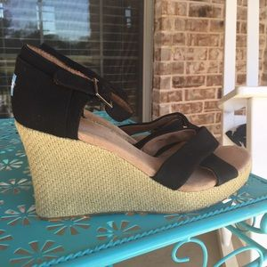 TOMS Espadrille Leather Canvas Strap Wedges 12